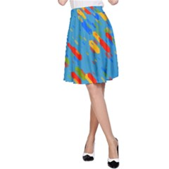 Colorful Shapes On A Blue Background A Line Skirt