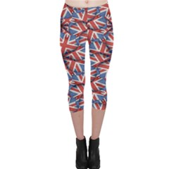Heart Shaped England Flag Pattern Design Capri Leggings  by dflcprintsclothing