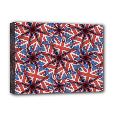 Heart Shaped England Flag Pattern Design Deluxe Canvas 16  X 12  (framed)  by dflcprints
