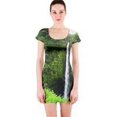 Akaka Falls Short Sleeve Bodycon Dress by bloomingvinedesign