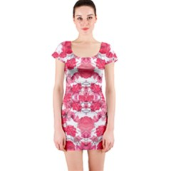 Floral Print Swirls Decorative Design Short Sleeve Bodycon Dress by dflcprintsclothing