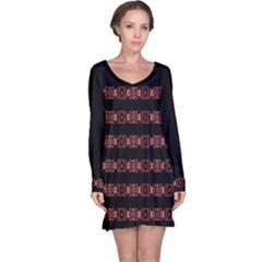 Tribal Ornate Geometric Pattern Long Sleeve Nightdress by dflcprintsclothing