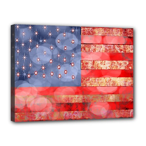 Distressed American Flag Canvas 16  x 12  (Framed) by bloomingvinedesign