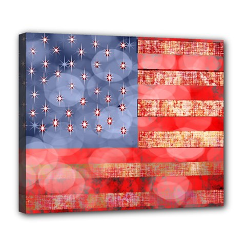 Distressed American Flag Deluxe Canvas 24  X 20  (framed) by bloomingvinedesign