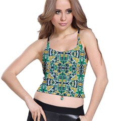 Colorful Tribal Abstract Pattern Women s Spaghetti Strap Bra Top by dflcprintsclothing