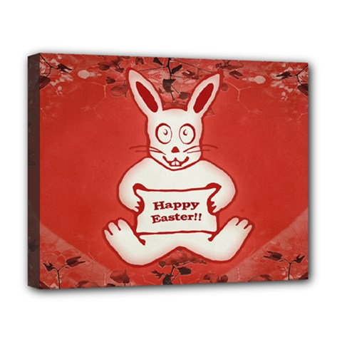 Cute Bunny Happy Easter Drawing Illustration Design Deluxe Canvas 20  X 16  (framed) by dflcprints