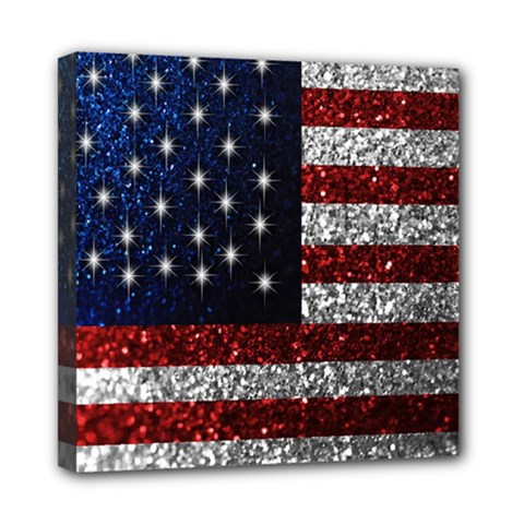 American Flag In Glitter Photograph Mini Canvas 8  X 8  (framed) by bloomingvinedesign