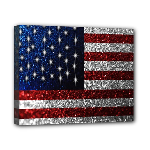 American Flag In Glitter Photograph Canvas 10  X 8  (framed) by bloomingvinedesign