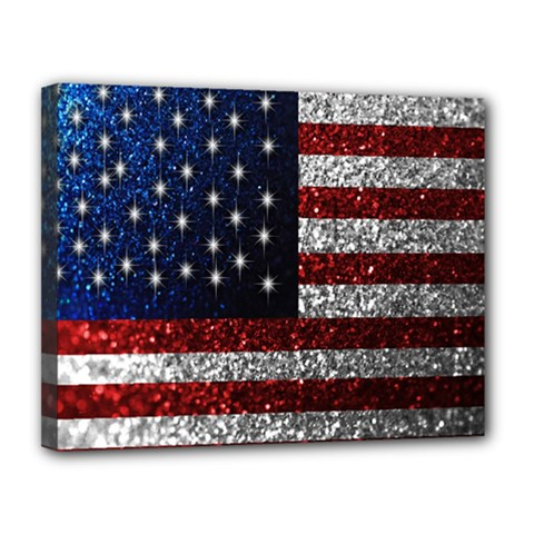 American Flag In Glitter Photograph Canvas 14  X 11  (framed) by bloomingvinedesign
