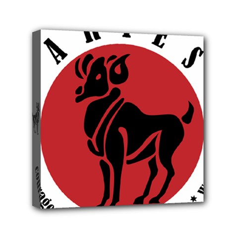 Aries Horoscope Zodiac Sign Birthday Mini Canvas 6  X 6  (framed) by tematika