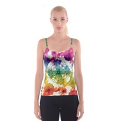 Multicolored Floral Swirls Decorative H Spaghetti Strap Top