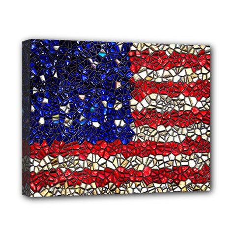American Flag Mosaic Canvas 10  X 8  (framed) by bloomingvinedesign