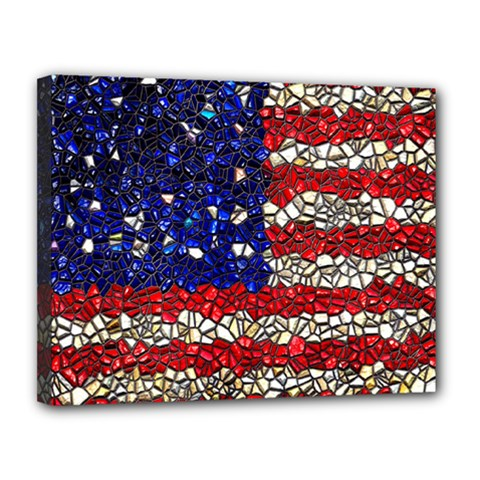 American Flag Mosaic Canvas 14  X 11  (framed) by bloomingvinedesign