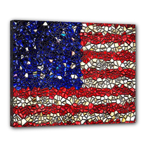 American Flag Mosaic Canvas 20  X 16  (framed) by bloomingvinedesign