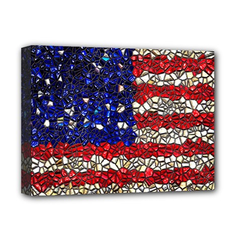 American Flag Mosaic Deluxe Canvas 16  X 12  (framed)  by bloomingvinedesign