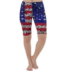 American Flag Mosaic Cropped Leggings