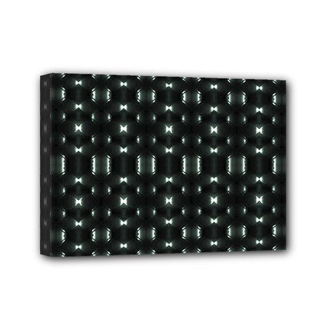 Futuristic Dark Hexagonal Grid Pattern Design Mini Canvas 7  X 5  (framed) by dflcprints