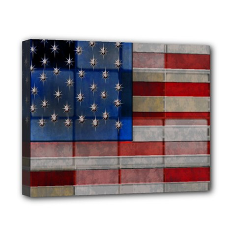 American Flag Quilt Canvas 10  X 8  (framed) by bloomingvinedesign