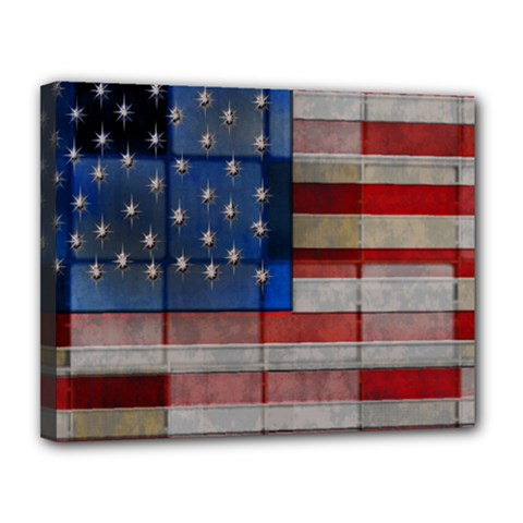 American Flag Quilt Canvas 14  X 11  (framed) by bloomingvinedesign