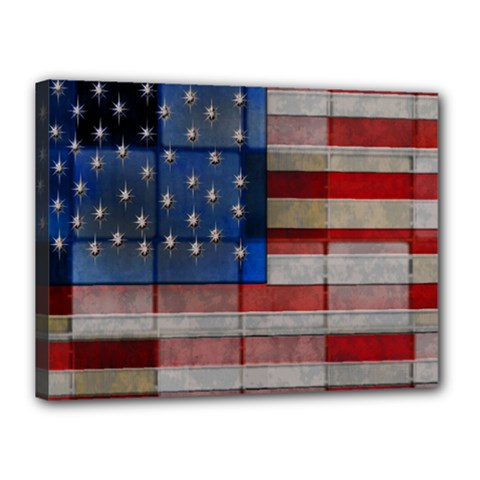 American Flag Quilt Canvas 16  x 12  (Framed) by bloomingvinedesign