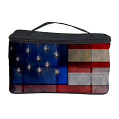 American Flag Quilt Cosmetic Storage Case by bloomingvinedesign