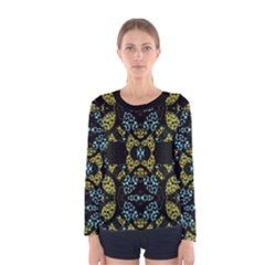 Ornate Dark Pattern Long Sleeve T-shirt (Women) by dflcprintsclothing
