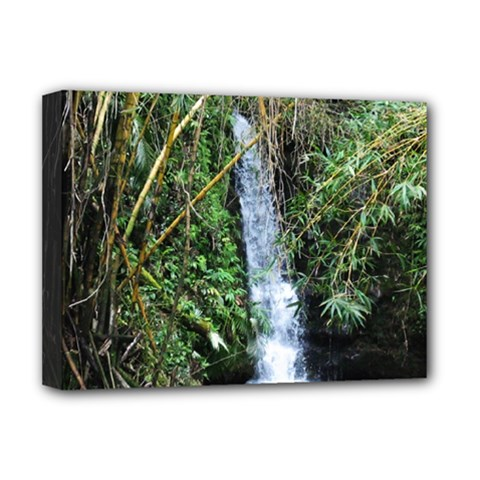 Bamboo Waterfall Deluxe Canvas 16  X 12  (framed)  by bloomingvinedesign