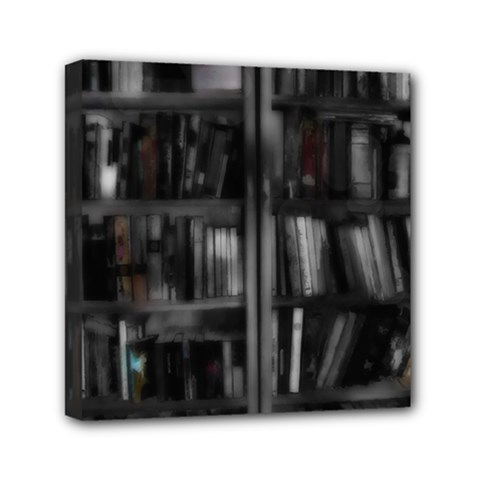 Black White Book Shelves Mini Canvas 6  X 6  (framed) by bloomingvinedesign