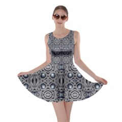 Modern Arabesque in Gray and Blue Skater Dress by dflcprintsclothing