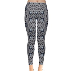 Modern Arabesque In Gray And Blue Leggings  by dflcprintsclothing