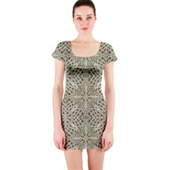 Silver Intricate Arabesque Pattern Short Sleeve Bodycon Dress by dflcprintsclothing