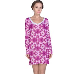 Floral Print Pink Passionate Dreams  Long Sleeve Nightdress by dflcprintsclothing