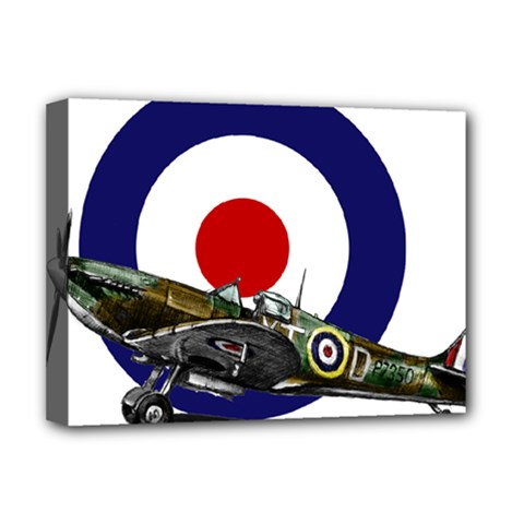 Spitfire And Roundel Deluxe Canvas 16  x 12  (Framed)  by TheManCave