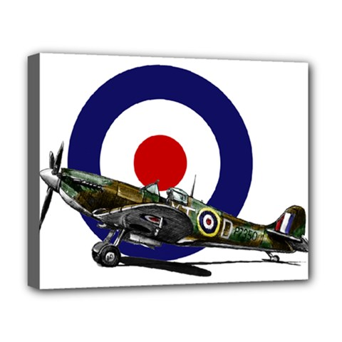 Spitfire And Roundel Deluxe Canvas 20  x 16  (Framed) by TheManCave