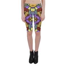 Multicolored Tribal Print Cropped Leggings  by dflcprintsclothing