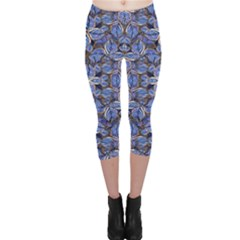 Floral Print in Navy Tones Capri Leggings  by dflcprintsclothing