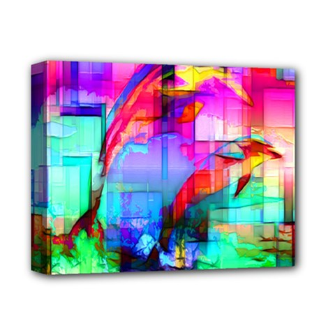 Tim Henderson Dolphins Deluxe Canvas 14  X 11  (framed)
