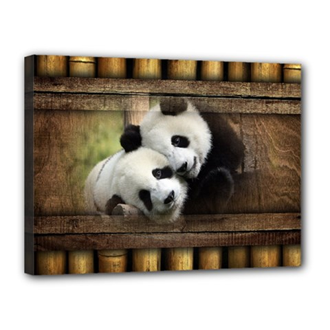 Panda Love Canvas 16  X 12  (framed) by TheWowFactor