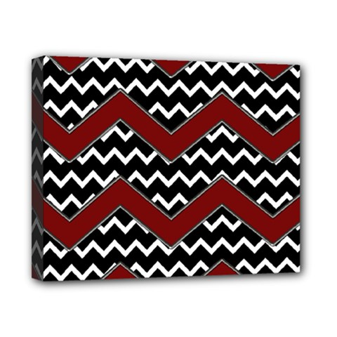 Black White Red Chevrons Canvas 10  X 8  (framed) by bloomingvinedesign