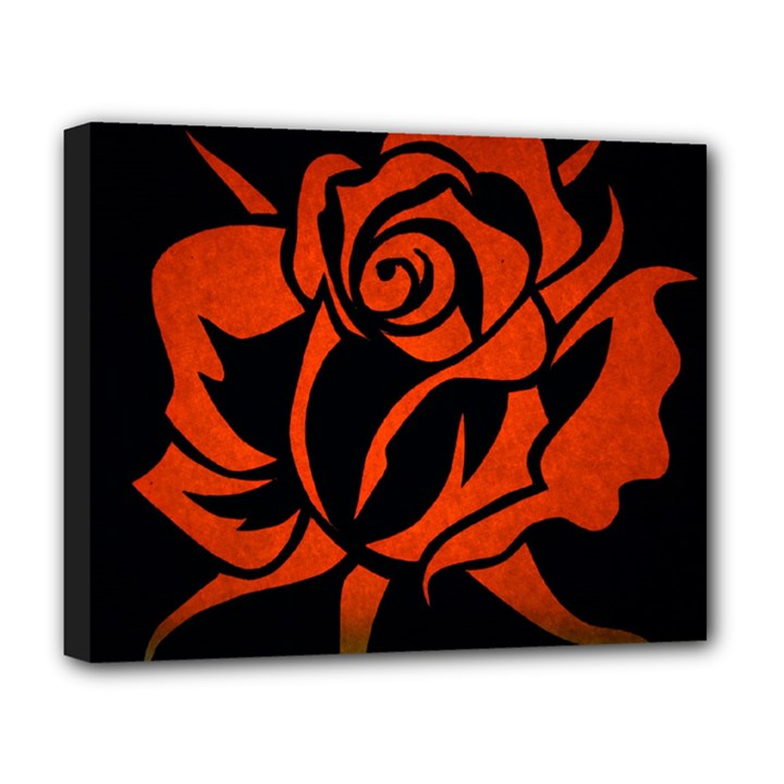 Red Rose Etching On Black Deluxe Canvas 20  x 16  (Framed)