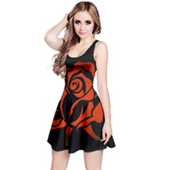 Red Rose Etching On Black Sleeveless Dress by StuffOrSomething