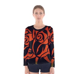 Red Rose Etching On Black Long Sleeve T-shirt (Women) by StuffOrSomething