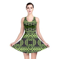 Green Shapes On A Black Background Pattern Reversible Skater Dress