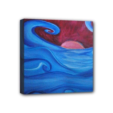Blown Ocean Waves Mini Canvas 4  X 4  (framed) by bloomingvinedesign