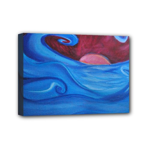 Blown Ocean Waves Mini Canvas 7  X 5  (framed) by bloomingvinedesign