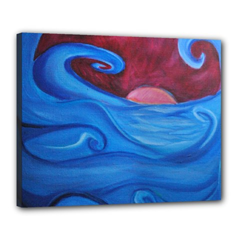 Blown Ocean Waves Canvas 20  x 16  (Framed) by bloomingvinedesign