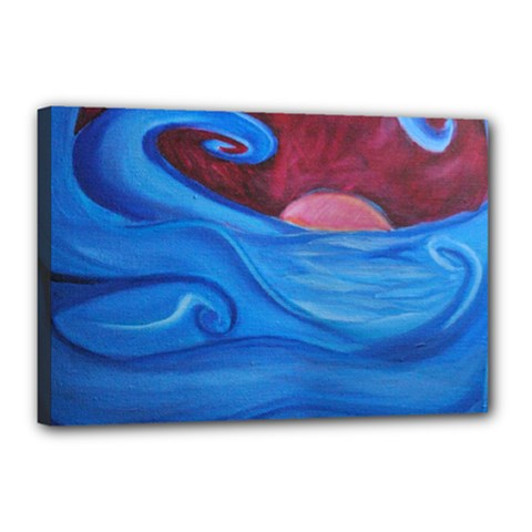 Blown Ocean Waves Canvas 18  X 12  (framed) by bloomingvinedesign