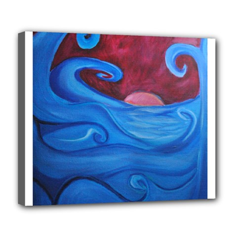 Blown Ocean Waves Deluxe Canvas 24  X 20  (framed) by bloomingvinedesign
