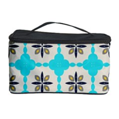 Floral Pattern On A Blue Background Cosmetic Storage Case by LalyLauraFLM