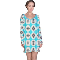 Floral Pattern On A Blue Background Nightdress